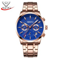 Beli Nibosi Watch Korean Version Of Ultra Thin Fashion Men S Black Gold Strip Leisure Sports Luminous Trend Personality Waterproof Explosion Three Eyes Six Needle Watches Intl Cicil