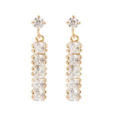 18 Karat Berlapis Emas Putih Berlian Imitasi Berkelip Pernikahan Elegan Anting Bagi Wanita Niceeshop