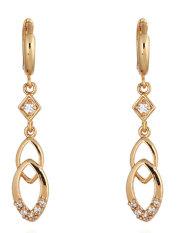 niceEshop 18 karat kuning berlapis emas putih berlian imitasi Oval Double Cross cincin liontin anting panjang