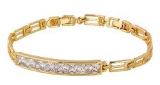 NiceEshop 18 Karat Kuning Berlapis Emas Putih Berlian Imitasi Yg Tdk Kunjung Surut Link Rantai Gelang Tangan untuk Pernikahan