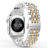 Ulasan Mengenai Niceeshop Apple Watch Band Stainless Steel Link Gelang Double Tombol Folding Gesper Penggantian Tali To Apple Watch 42Mm Perak Emas