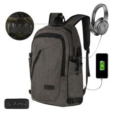 NiceEshop Bisnis Tahan Air Poliester Laptop Ransel With USB Pengisian Port And Lock Cocok Under 17-Inch Laptop And Notebook (abu-abu)