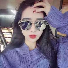 Jual Cepat Niceeshop New Cat Eye Mirrored Flat Lenses Street Fashion Twin Beams Metal Frame Women Sunglasses Gold And Silver Intl