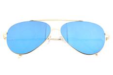 Toko Unisex Vintage Trendi Selebriti Kamis 15 Kacamata Penerbang Logam Emas Emas Frame Biru Lensa Niceeshop Internasional Lengkap