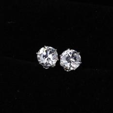 Noble Round Crystal Anting-Anting Giwang Tindik Perhiasan Emas Putih Berlapis-Internasional