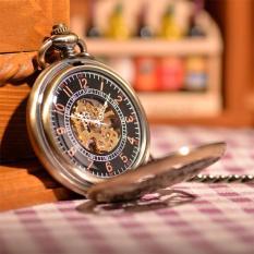 Nonof Grosir Barang Antik Mandarin Kirin Terukir Gold Steampunk Tangan Angin Pocket Watch Mekanik Gantungan Kunci Jam Perawat (Perunggu)
