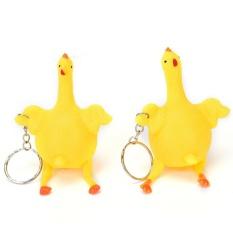 Novelty Mainan Lucu Vent Ayam Ayam Utuh Telur Ayam Petelur Ramai Stres Gantungan Kunci Bola Kuning 9*6 Cm-Intl