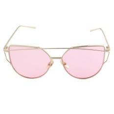 Yoouino Mata Kucing Mirrored Flat Lensa Bingkai Logam Kacamata Hitam Wanita UV400 Gold Bingkai + Laut