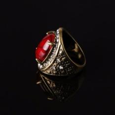 Pria Wanita Model Cincin Paduan Elektroplate Turquoise Retro Ring (Merah)-Intl