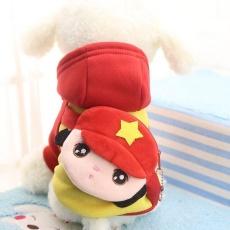 Laut Baru Pet Pakaian Pakaian Anjing Topi Cantik Kartun Kemeja Hewan Peliharaan (Merah XL)