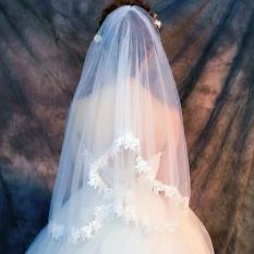 Off-white warna pernikahan Korea renda ganda jilbab pengantin jilbab kerudung