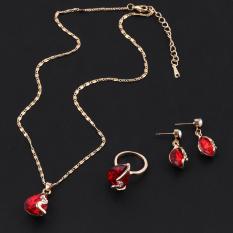 OH Emas Plated Austria Crystal Anting dengan Liontin Kalung Cincin Perhiasan Set Emas Merah-Intl