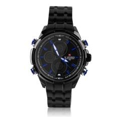 Beli Oh Naviforce Pria Pusat Led Tampilan Ganda Kuarsa Digital Jam Tangan Sport Hitam And Biru Secara Angsuran
