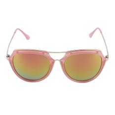 OH Trendy Fashion Classic Women Vintage Logam dan Plastik Kacamata Hitam Besar Pink Bingkai Lensa Pink