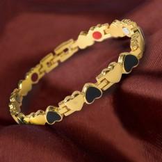 Toko Jual Oh Unisex Pria Wanita Stainless Steel Energi Kesehatan Gelang Perhiasan Bentuk Hati Intl