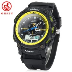 OHSEN AD1209 Men Dual Time Sports Digital Quartz Watch with Date Week Alarm Stopwatch Backlight - intl