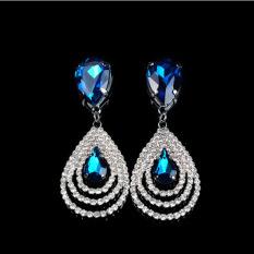 Spesifikasi Okdeals Kristal Yang Berkilauan Titik Air Mata Berjurai Luruh Bertabur Berlian Buatan Simpai Subang Biru Yg Baik