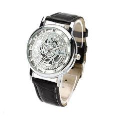 Spesifikasi Okdeals Kerangka Stainless Steel Band Kulit Jam Tangan Silver Hitam Internasional Yang Bagus Dan Murah