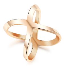 Olen Rose Emas Plated Titanium Steel X Berbentuk Cincin untuk Wanita