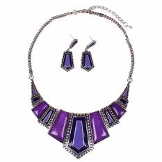 Dalam Perjalanan Amber Seperti Suku Geometris Tibet Silver Bib Kalung Kalung Earrings Set-Intl