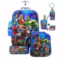 Onlan Avengers 6D Timbul Anti Gores Trolley Anak 4In1 Set 6 Roda Gagang Samurai Import Dan Set Alat Tulis Biru Onlan Diskon 50