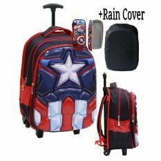 Jual Onlan Tas Trolley Anak Sd Motif 6D Timbul Import Rain Cover Dan Kotak Pensil Timbul Blue Onlan Ori