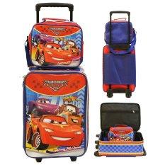 Onlan Set Koper dan Lunch Bag Anak Bahan Sponge Tahan Air Motif Gambar Mobil - Merah