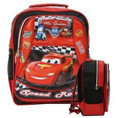 Onlan CARS MCQueen Tas Ransel Anak PG & TK  Bahan Saten Kantung Unik dan Lucu - Merah