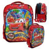 Cuci Gudang Onlan Cars Mqqueen 5D Timbul Glow Tas Ransel 2 Kantung Depan Ukuran Sd Import Merah