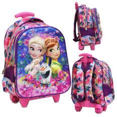 Harga Onlan Frozen 5D Timbul Hologram Tas Trolley Anak Sekolah Tk Import Pink Murah