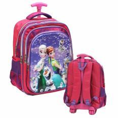 Model Onlan Disney Frozen 5D Timbul Tas Trolley Anak Sekolah Sd Ada 3 Kantung Import Pink Terbaru