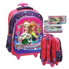 Onlan Disney Frozen Fever Flower 5D Timbul Hologram Tas Trolley Anak Sekolah SD Import dan Kotak Pensil - Purple