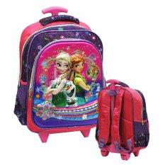 Onlan Disney Frozen Fever Flower 5D Timbul Hologram Tas Trolley Anak Sekolah SD Ukuran Sedang Import - Purple
