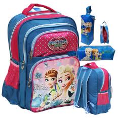 Harga Onlan Disney Frozen Fever Tas Ransel Anak Ukuran Sd Ada 4 Kantung Besar Dan Kotak Pensil Kain Biru Branded