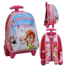 Onlan Tas Trolley Anak Sekolah Play Group Bahan Kain Sponge Tahan Air - Pink