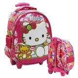 Review Toko Onlan Hello Kitty 6D Timbul Kantung Depan Model Setengah Telur Tas Trolley Anak Tk Import Pink