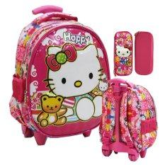 Harga Onlan Hello Kitty 6D Timbul Setengah Telur Tas Trolley Anak Tk Import Dan Kotak Pensil Timbul Pink Onlan Indonesia