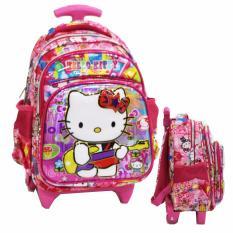 Onlan Hello Kitty 6D Timbul Tas Trolley Anak Sekolah Tk Play Group 3 Kantung Import Pink Promo Beli 1 Gratis 1