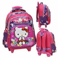 Spesifikasi Onlan Hello Kitty Pita 5D Timbul Tas Trolley Anak Sekolah Tk Ada 3 Kantung Import Pink Murah Berkualitas