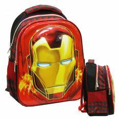 Onlan Iron Man Kepala 6D Timbul Tas Ransel  Anak TK Import Dua Kantung - Merah