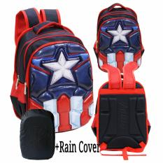 Jual Onlan Marvel Avengers 6D Timbul Hard Cover Tas Ransel Anak Sekolah Sd Import Rain Cover Blue Onlan Grosir