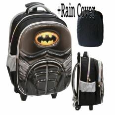 Jual Onlan Tas Trolley Anak Laki Laki Motif Super Hero Batman 6D Timbul Kantung Besar Import Rain Cover Hitam Onlan Murah