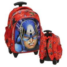 Diskon Besaronlan Marvel Captain America Kepala 6D Timbul Lapis Anti Gores Tas Trolley Anak Tk Pg Import Merah