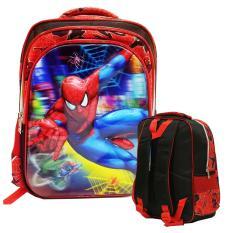 Review Onlan Marvel Spiderman 5D Timbul Anti Gores Tas Ransel 3 Kantung Ukuran Sd Import Merah Hitam Terbaru