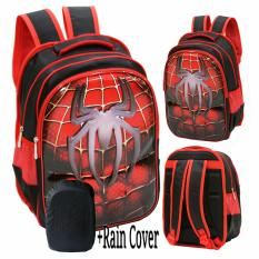 Onlan Marvel Spiderman Super Hero 6D Timbul Hard Cover Tas Ransel Anak Sekolah SD Import + RAIN COVER - Red Black