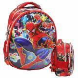 Cuci Gudang Onlan Marvel Spiderman 6D Timbul Kantung Depan Model Setengah Telur Unik Tas Ransel Tk Import Red