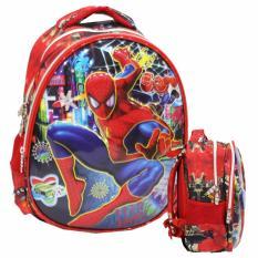 Jual Onlan Marvel Spiderman 6D Timbul Kantung Depan Model Setengah Telur Unik Tas Ransel Tk Import Red Baru