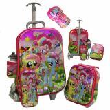 Obral Onlan Tas Trolley Anak Perempuan Little Pony 4In1 Set 6 Roda Import Dan Topi Cantik Murah