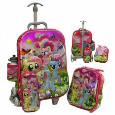 Beli Onlan Tas Trolley Anak Perempuan 4In1 Set 6 Roda Import Pink Pakai Kartu Kredit