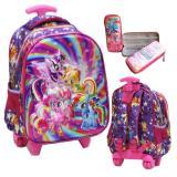 Spesifikasi Onlan My Little Pony Cantik 5D Timbul Hologram Tas Trolley Anak Sekolah Tk Dan Kotak Pensil 5D Hologram Purple Terbaru